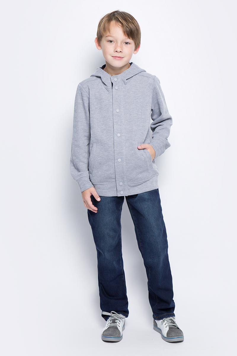 Толстовка для мальчика Sela, цвет: серый меланж. JTk-816/006-7331. Размер 134, 9 лет