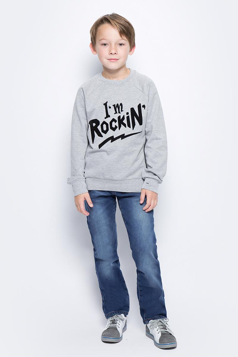 Свитшот для мальчика Sela, цвет: серый меланж. St-813/016-7472. Размер 122, 7 лет