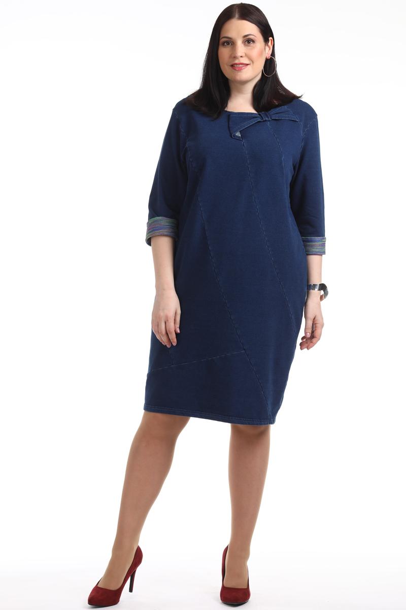Платье женское Averi, цвет: синий. 1331_032. Размер 64 (68)1331_032Платье из джинсового футера. Эта удобная, стильная и практичная модель из высококачественного хлопка. Модель с многочисленными рельефами, которые подчеркнут индивидуальность, а декоративный бант дополнит образ.