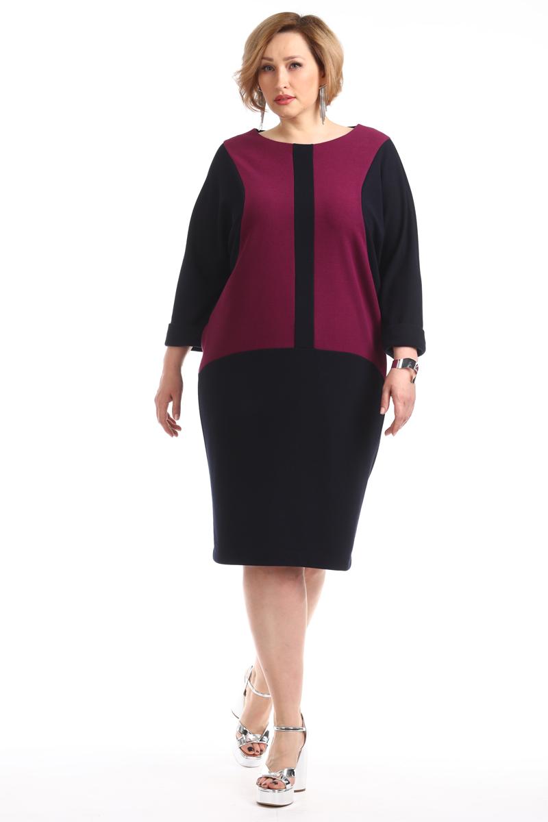 Платье Averi, цвет: темно-синий. 1338_525. Размер 62 (66)1338_525Элегантное платье изготовлено из комбинированной ткани. Оригинальная форма рукава обеспечивает комфорт и легкость движениям, невероятно стройнит и моделирует силуэт. По низу рукавов имеются манжеты с отворотами.