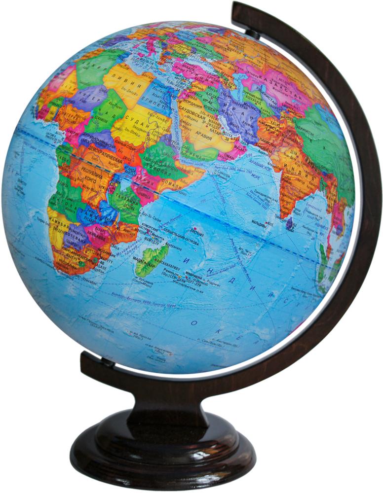 Глобусный мир Глобус с политической картой мира диаметр 32 см10032Глобус с политической картой мира Глобусный мир, изготовленный из высококачественного прочного пластика, показывает страны мира, сухопутные и морские границы того или иного государства, расположение городов и населенных пунктов.На нем отображены картографические линии: параллели и меридианы, а также градусы и условные обозначения, центры владений, научные станции и судоходные каналы. Каждая страна обозначена своим цветом. Глобус с политической картой мира станет незаменимым атрибутом обучения не только школьника, но и студента. Названия стран на глобусе приведены на русском языке. Изделие расположено на деревянной подставке, что придает этой модели подарочный вид. Настольный глобус Глобусный мир станет оригинальным украшением рабочего стола или вашего кабинета. Это изысканная вещь для стильного интерьера, которая станет прекрасным подарком для современного преуспевающего человека, следующего последним тенденциям моды и стремящегося к элегантности и комфорту в каждой детали.Масштаб: 1:40 000 000.