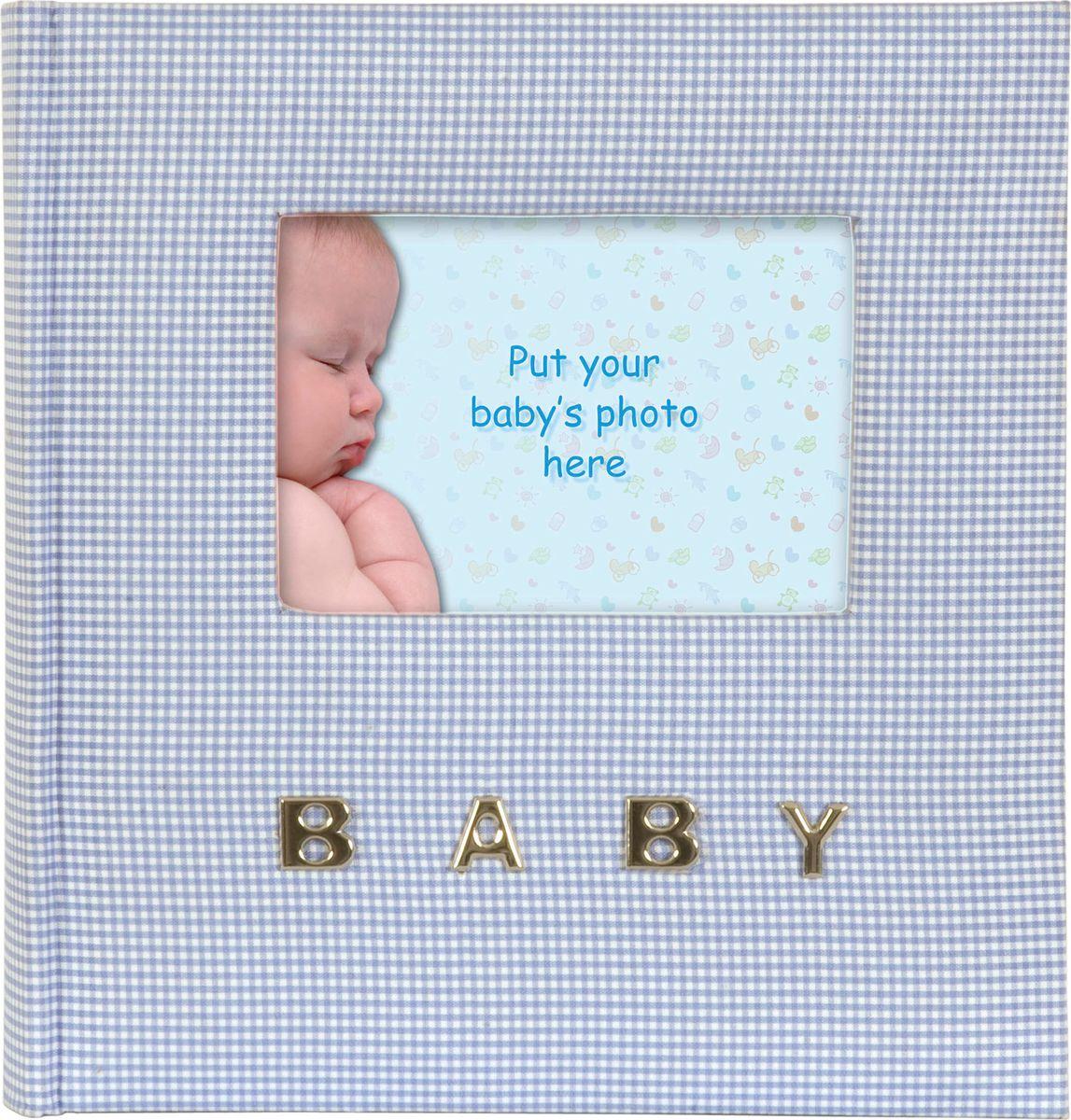 Фотоальбом Innova Baby Gingham, цвет: голубой, 100 фотографий, 10 x 15 см. Q9306338 фотоальбом окно цвет голубой 100 фотографий 10 х 15 см