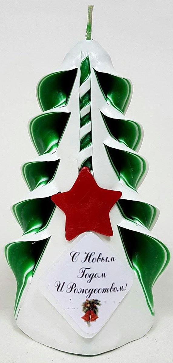 """Свеча декоративная Sima-land """"Елка заснеженная. С Новым годом!"""", цвет: зеленый, высота 12 см"""