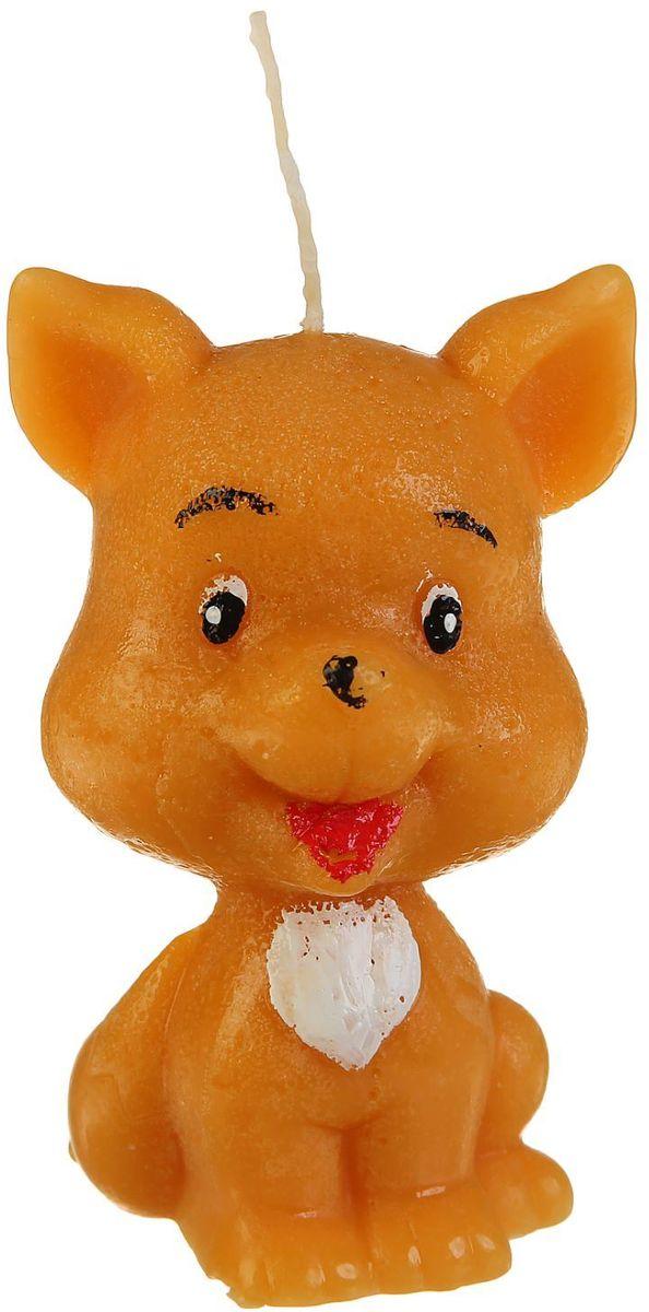 Свеча декоративная Sima-land Веселый щенок, цвет: светло-коричневый, высота 8,5 см свеча ароматизированная sima land океан высота 4 см