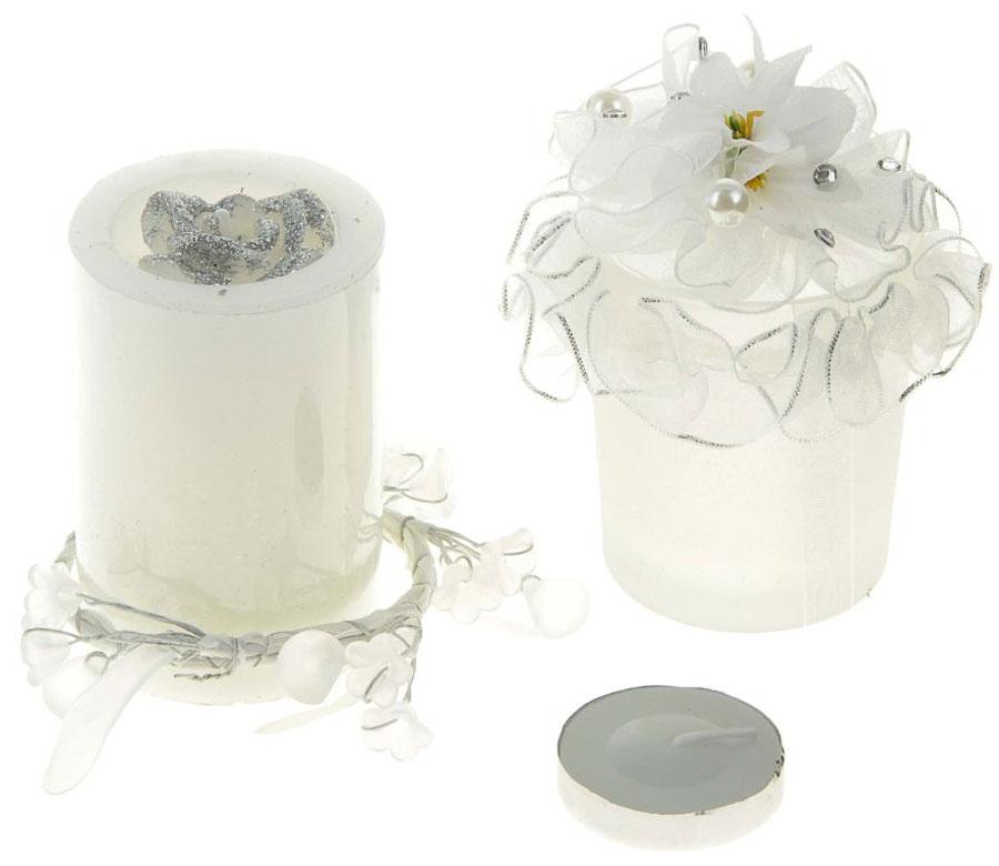 Набор декоративных свечей Sima-land Шик, цвет: белый, высота 14 см, 2 шт свеча ароматизированная sima land лимон на подставке высота 6 см
