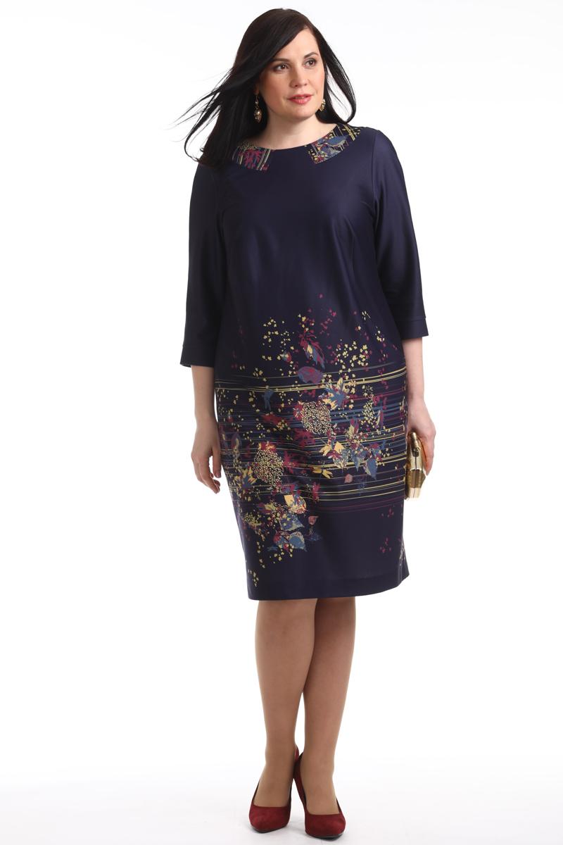 Платье Averi, цвет: темно-синий. 1356_625. Размер 62 (66)1356_625Элегантное платье с изысканным утонченным рисунком. Округлая горловина с имитацией отложного воротника. Рукава 3/4 с узкими манжетами. Отличный вариант для офиса и вечернего гардероба, а также и просто для повседневного применения.