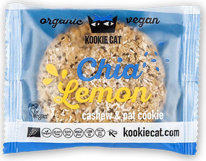 Kookie Cat семена чиа и лимон, 50 г420Хрустящая сладость в виде питательных семян Чиа и нежного Кокоса с Лимоном.