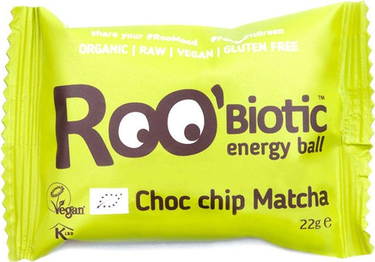 Roo'biotic Energy Ball Choc Chip Matcha конфета чай матча и шоколадная крошка, 22 г413Главный ингредиент японских чайных церемоний зеленый Чай Матча был давно оценен за его омолаживающий эффект на организм. Полезная и вкусная, с добавлением Шоколадной крошки из темного шоколада. Результат омолаживающий!