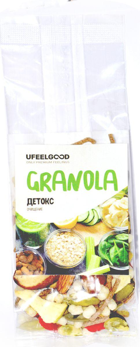 UFEELGOOD Granola детокс очищение, 40 г787Гранола Детокс нормализует работу пищеварения и способствует очищению организма от токсинов. Этот полезный микс разнообразных суперфудов прекрасно подойдет в качестве перекуса.Удобно взять с собой на работу или учебу, а также на прогулку.Содержит целый комплекс витаминов и минералов, который сможет восполнить баланс в вашем организме.