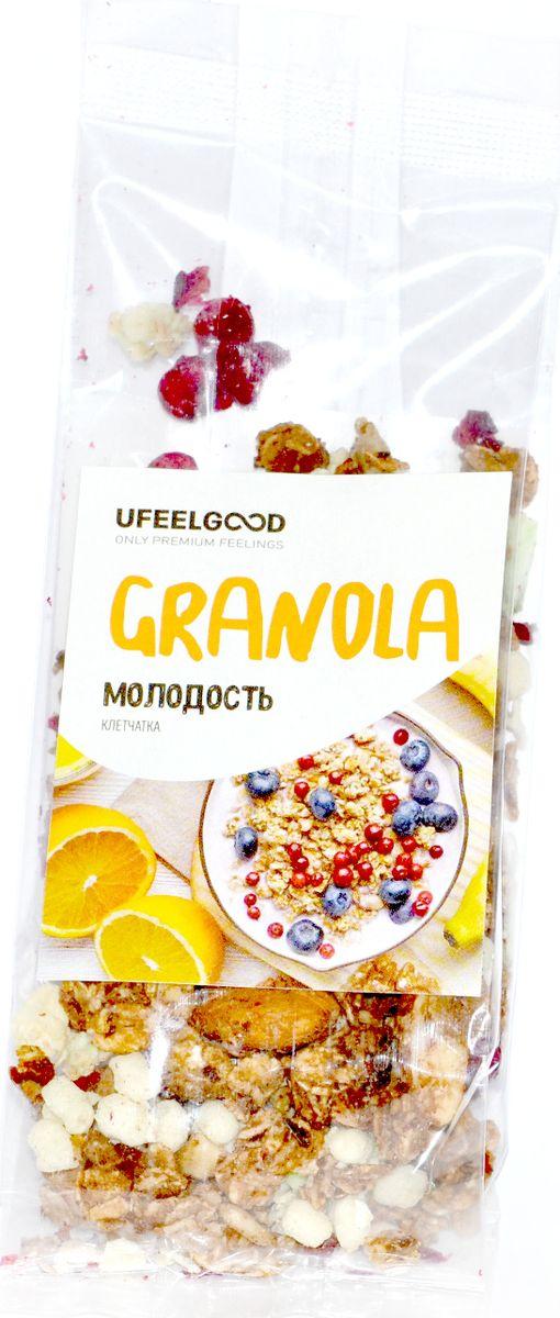 UFEELGOOD Granola молодость клетчатка, 40 г786Гранола Молодость - это источник клетчатки, который способствует правильной работе организма и омоложению изнутри. Этот полезный микс разнообразных суперфудов прекрасно подойдет в качестве перекуса.Удобно взять с собой на работу или учебу, а также на прогулку.Содержит целый комплекс витаминов и минералов, который сможет восполнить баланс в вашем организме.
