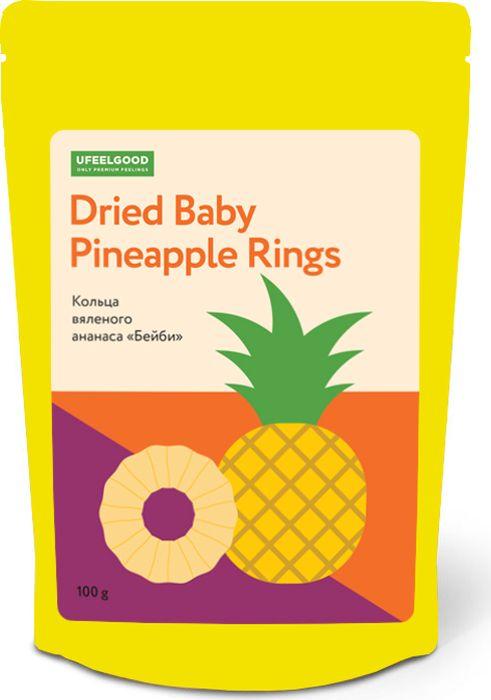 UFEELGOOD Dried Baby Pineapple Rings кольца сушеного ананаса бейби, 100 г745Ананас Бейби также называют королевским. Его плоды всего около 10-15 см высотой, отличается от своих больших собратьев особенной нежностью мякоти, сахарной сладостью, сочностью и ярким ароматом. Сердцевина в малыше-ананасе мягкая и съедобная. Сушеные кольца ананаса - кладезь пользы. Фрукты, напитанные жарким солнцем, способствуют выработке серотонина, являясь естественным средством от грусти и депрессии. В них содержится множество важных организму веществ: калий, фосфор, магний, цинк, железо, йод, витамины группы В, PP и А, позволяющих восстановить силы, укрепить иммунитет, нормализовать состояние нервной системы. Активные вещества и грубые волокна, содержащиеся в плодах, улучшают работу пищеварительной системы, помогают усвоению пищи, в том числе тяжелых и жирных продуктов. Бромелин в составе плода помогает контролировать аппетит, выводит из организма лишнюю жидкость, снижая повышенную отечность. Кокосовый сахар имеет низкий гликемический индекс и сохраняет насыщенный вкус фрукта. Благодаря этому углеводы превращаются в глюкозу намного медленнее, повышая в крови уровень сахара постепенно и давая мощный заряд энергии на долгое время без вреда для организма. Регулярное употребление ананаса является профилактикой болезней дыхательной, эндокринной и выделительной систем, тромбофлебита и атеросклероза, воспалительных процессов организма и инфекционных недугов. И, что крайне важно: происходит ускорение лимфотока - главной очищающей системы организма, выводятся шлаки и токсины. Сушеный ананас - созданный природой, полезный и быстрый перекус, заряд радости без вреда для здоровья.