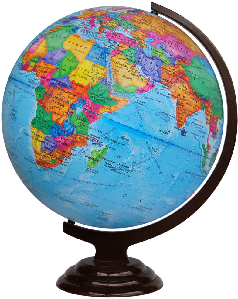 Глобусный мир Глобус политический настольный на деревянной подставке диаметр 42 см -  Глобусы