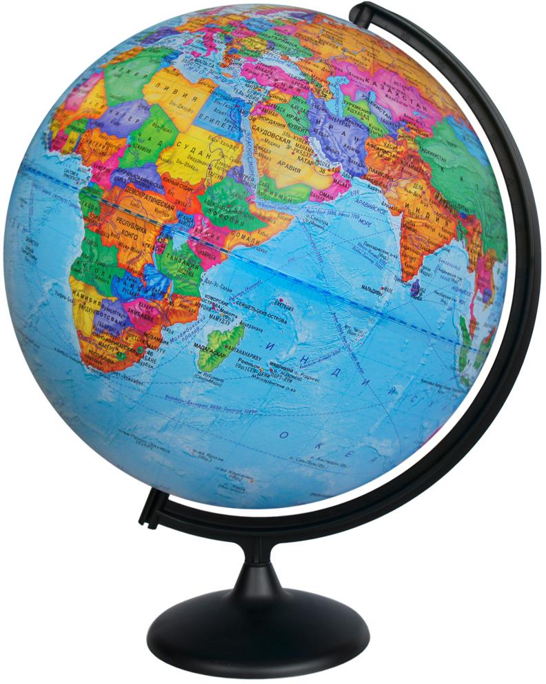 Глобусный мир Глобус с политической картой мира диаметр 42 см10323Глобус с политической картой мира Глобусный мир изготовлен из высококачественного и прочного пластика. Глобус показывает страны мира, границы того или иного государства, расположение столиц государств, городов и населенных пунктов.Изделие расположено на черной пластиковой подставке. На глобусе отображены картографические линии: параллели и меридианы, а также градусы и условные обозначения. Все страны мира раскрашены в разные цвета. Названия стран на глобусе приведены на русском языке. Глобус с политической картой мира станет незаменимым атрибутом обучения не только школьника, но и студента.Настольный глобус Глобусный мир станет оригинальным украшением рабочего стола или вашего кабинета. Это изысканная вещь для стильного интерьера, которая станет прекрасным подарком для современного преуспевающего человека, следующего последним тенденциям моды и стремящегося к элегантности и комфорту в каждой детали.Масштаб: 1:30 000 000.