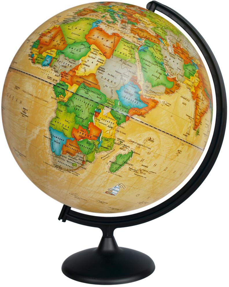 Глобусный мир Глобус с политической картой мира Ретро-Александр диаметр 42 см10326Глобус с политической картой мира Глобусный мир изготовлен извысококачественного прочного пластика.Данная модель выполнена в ретростиле и показывает страны мира, границы того или иного государства,расположение городов и населенных пунктов. Изделие расположенона подставке и легко вращается вокруг своей оси. На глобусе отображеныкартографические линии: параллели, меридианы и градусы. Все страны мирараскрашены в разные цвета. Глобус с политической картой мира станетнезаменимым атрибутом обучения не только школьника, но и студента. Названиястран на глобусе приведены на русском языке.Глобус с политической картоймира Ретро-Александр станет оригинальным украшением рабочего стола иливашего кабинета. Это изысканная вещь для стильного интерьера, которая будетпрекрасным подарком для современного преуспевающего человека, следующегопоследним тенденциям моды и стремящегося к элегантности и комфорту в каждойдетали.Масштаб: 1:20 000 000.