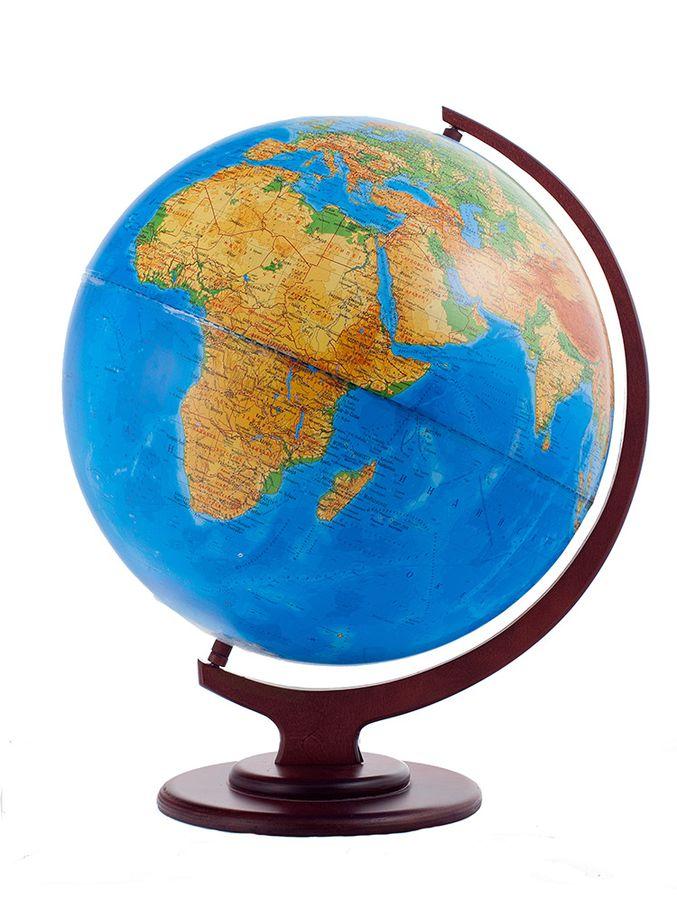 Глобус физический диаметр 420 мм на деревянной подставке настольный Глобусный мир