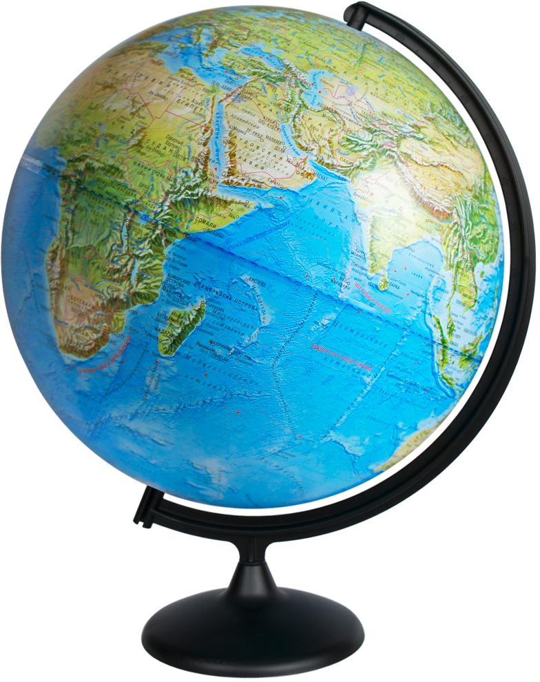 Глобусный мир Глобус с физической картой мира диаметр 42 см10322Глобус с физической картой мира Глобус мира, изготовленный из высококачественного и прочного пластика, показывает страны мира, сухопутные и морские границы того или иного государства, расположение городов и населенных пунктов. На глобусе имеются направления, названия подводных течений и ветров. А также имеется шкала глубин и высот в метрах, отметки глубин, отметки высот над уровнем моря. С помощью данного глобуса можно получить правильное представление о форме, размерах, расположении материков, океанов, островов, морей и рек. Названия стран на глобусе приведены на русском языке. Помимо этого глобус обладает приятной цветовой гаммой. Изделие расположено на пластиковой подставке, что придает этой модели подарочный вид. Настольный глобус с физической картой Глобусный мир станет оригинальным украшением рабочего стола или вашего кабинета. Это изысканная вещь для стильного интерьера, которая станет прекрасным подарком для современного преуспевающего человека, следующего последним тенденциям моды и стремящегося к элегантности и комфорту в каждой детали.Масштаб: 1:30 000 000.