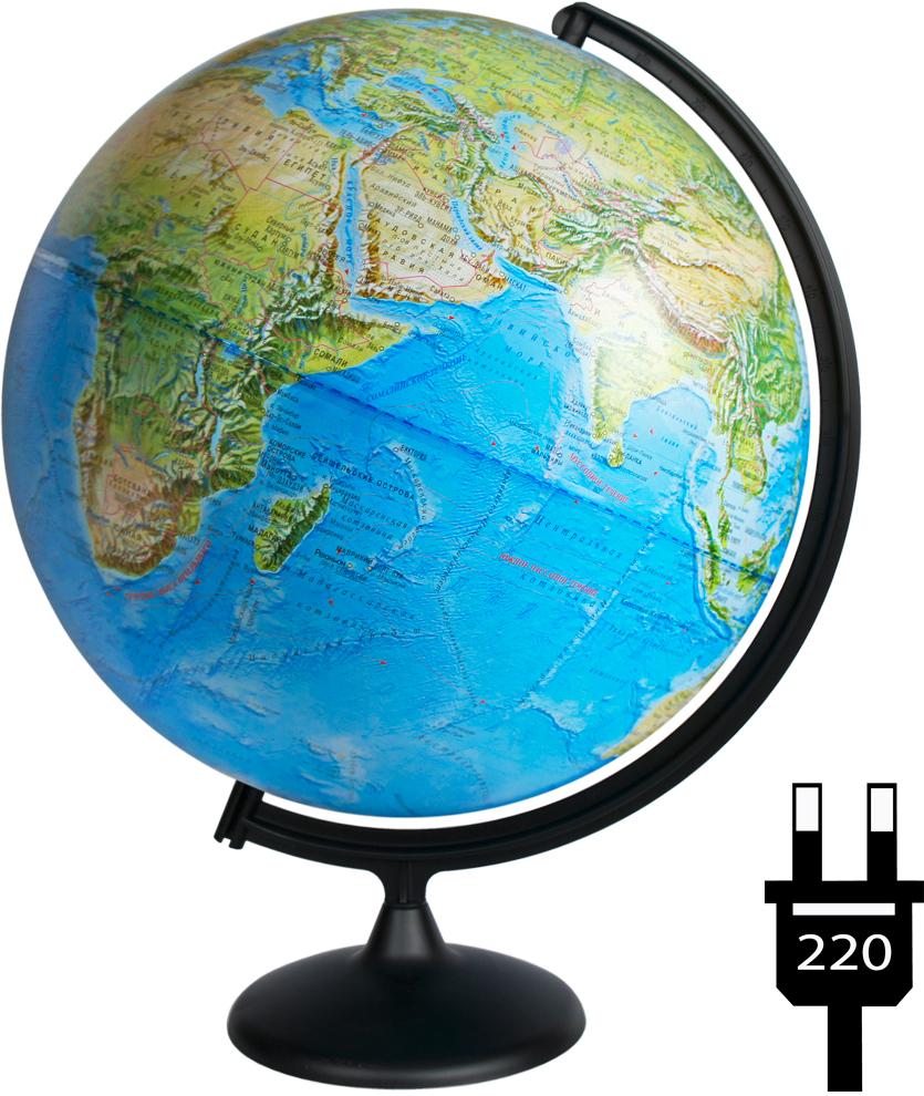 Глобусный мир Глобус с физической/политической картой мира диаметр 42 см с подсветкой