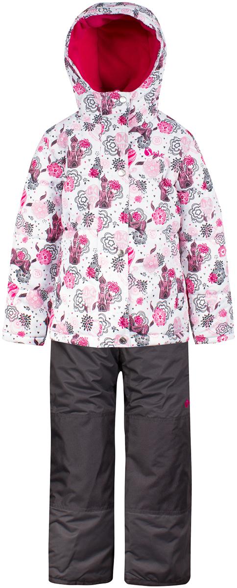 Комплект верхней одежды для девочки Salve by Gusti, цвет: белый. SWG 4650-WHITE. Размер 104SWG 4650-WHITEТкань верха куртки: Мембрана с коэффициентом водонепроницаемости 2000 мм и коэффициентом паропроницаемости 2000 г/м2, одежда ветронепродуваемая. Благодаря тонкому полиуретановому напылению изнутри не промокает даже при сильной влаге, но при этом дышит (защита от влаги не препятствует циркуляции воздуха). Плотность ткани Т190 обеспечивает высокую износостойкость. Утеплитель: Тек-Полифилл (Tech-Polyfil) - 283г/м2, силиконизированый полиэстер изготовленный по новейшим технологиям, удерживает тепло при температуре до -30 С. Очень мягкий , создающий объем для сохранения тепла, более плотный на груди и спине (283г/м2) и менее плотный на рукавах (230г/м2). Высокоэффективный, обладающий повышенной устойчивостью к сжатию (после стирки в стиральной машине изделие достаточно встряхнуть), обеспечивающий хорошую вентиляцию, обладающий прекрасным, теплоизолирующими свойствами синтетический материал. Главные преимущества Тек-Полифила – одежда более пушистая на ощупь и менее тяжелое по весу. Подкладка: Высокотехнологичный флис COOLQUICK. Специальное кручение нитей позволяет ткани максимально впитывать влагу и увеличивать испаряемость с поверхности, т.е. выпустить пар, но не пропускает влагу снаружи, что обеспечивает комфорт даже при высоких физических нагрузках. Этот материал ранее был разработан специально для спортсменов, которые испытывали сильные нагрузки во время активного движения, а теперь принес комфорт и тепло в нашу повседневную жизнь. Это особенно важно для детей, когда они гуляют на свежем воздухе, чтобы тело всегда оставалось сухим и теплым. В этой одежде им будет тепло в течение длительного времени и нет необходимости надевать теплый свитер. Ткань верха полукомбинезона: Таслан ( Taslan )- мембрана с коэффициентом водонепроницаемости 2000 мм и коэффициентом паропроницаемости 2000 г/м2, одежда ветронепродуваемая. Благодаря тонкому полиуретановому напылению изнутри не