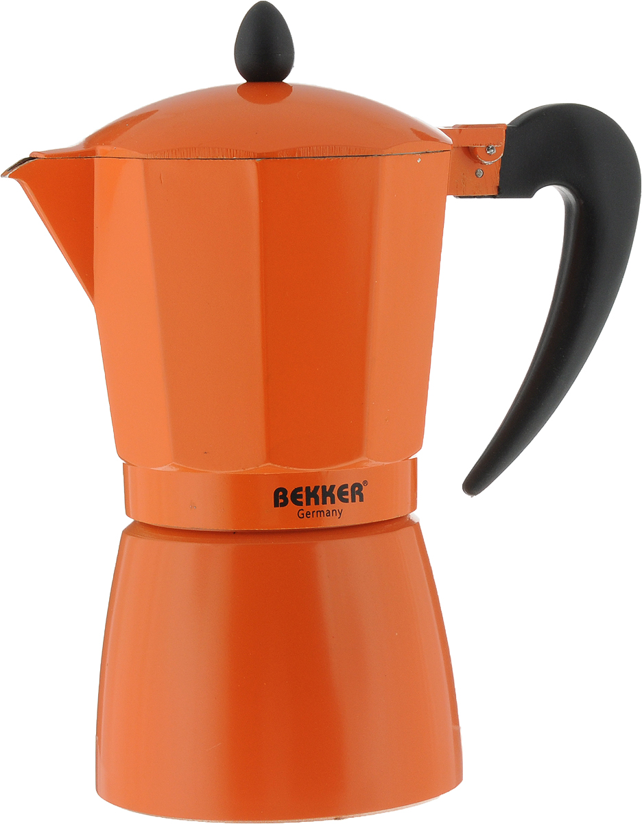 Кофеварка гейзерная Bekker Koch, цвет: оранжевый, черный, 450 млBK-9353_оранжевый, черныйГейзерная кофеварка Bekker Koch позволит вам приготовить ароматный напиток за короткое время. Корпус кофеварки изготовлен из высококачественного алюминия. Кофеварка состоит из двух соединенных между собой емкостей и снабжена алюминиевым фильтром. Удобная ручка выполнена из прочного пластика. Данная модель предельно проста в использовании, в ней отсутствуют подвижные части и нагревательные элементы, поэтому в ней нечему ломаться. Гейзерные кофеварки являются самыми популярными в мире и позволяют приготовить ароматный кофе за считанные минуты. Основной принцип действия гейзерной кофеварки состоит в том, что напиток заваривается путем прохождения горячей воды через слой молотого кофе. В нижнюю часть гейзерной кофеварки заливается вода, в промежуточную часть засыпается молотый кофе, кофеварка ставится на огонь или электрическую плиту. Закипая, вода начинает испаряться и превращается в пар. Избыточное давление пара в нижней части кофеварки выдавливает горячую воду через молотый кофе и подобно небольшому гейзеру попадает в верхний отсек, где и собирается в готовый кофе. Время приготовления в гейзерной кофеварке составляет примерно 5 минут. Кофеварку можно использовать на всех типах плит, кроме индукционных. Можно мыть в посудомоечной машине.Высота (с учетом крышки): 22 см.Диаметр основания: 10,5 см.Толщина стенки: 1,6 мм.Объем: 450 мл.