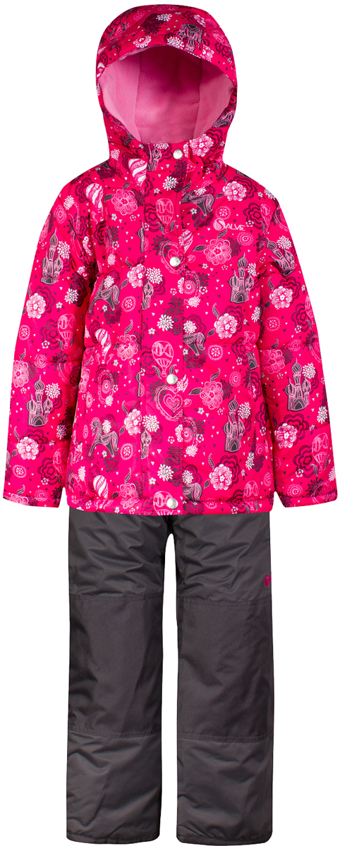 Комплект верхней одежды для девочки Salve by Gusti, цвет: розовый. SWG 4650-PINK. Размер 119SWG 4650-PINKТкань верха куртки: Мембрана с коэффициентом водонепроницаемости 2000 мм и коэффициентом паропроницаемости 2000 г/м2, одежда ветронепродуваемая. Благодаря тонкому полиуретановому напылению изнутри не промокает даже при сильной влаге, но при этом дышит (защита от влаги не препятствует циркуляции воздуха). Плотность ткани Т190 обеспечивает высокую износостойкость. Утеплитель: Тек-Полифилл (Tech-Polyfil) - 283г/м2, силиконизированый полиэстер изготовленный по новейшим технологиям, удерживает тепло при температуре до -30 С. Очень мягкий , создающий объем для сохранения тепла, более плотный на груди и спине (283г/м2) и менее плотный на рукавах (230г/м2). Высокоэффективный, обладающий повышенной устойчивостью к сжатию (после стирки в стиральной машине изделие достаточно встряхнуть), обеспечивающий хорошую вентиляцию, обладающий прекрасным, теплоизолирующими свойствами синтетический материал. Главные преимущества Тек-Полифила – одежда более пушистая на ощупь и менее тяжелое по весу. Подкладка: Высокотехнологичный флис COOLQUICK. Специальное кручение нитей позволяет ткани максимально впитывать влагу и увеличивать испаряемость с поверхности, т.е. выпустить пар, но не пропускает влагу снаружи, что обеспечивает комфорт даже при высоких физических нагрузках. Этот материал ранее был разработан специально для спортсменов, которые испытывали сильные нагрузки во время активного движения, а теперь принес комфорт и тепло в нашу повседневную жизнь. Это особенно важно для детей, когда они гуляют на свежем воздухе, чтобы тело всегда оставалось сухим и теплым. В этой одежде им будет тепло в течение длительного времени и нет необходимости надевать теплый свитер. Ткань верха полукомбинезона: Таслан ( Taslan )- мембрана с коэффициентом водонепроницаемости 2000 мм и коэффициентом паропроницаемости 2000 г/м2, одежда ветронепродуваемая. Благодаря тонкому полиуретановому напылению изнутри не