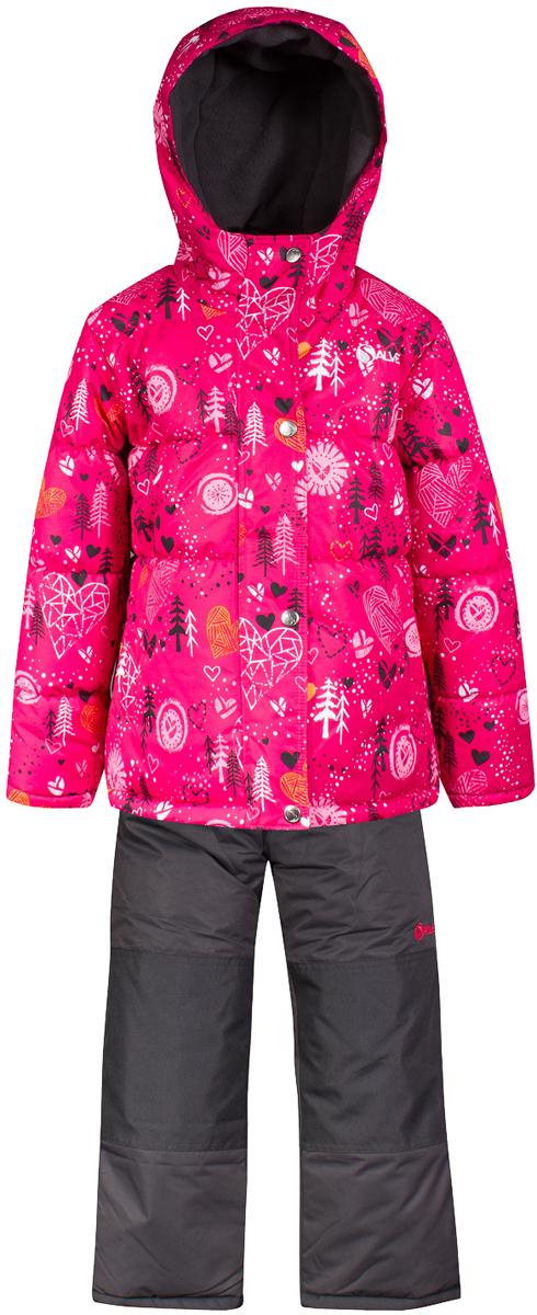 Комплект верхней одежды для девочки Salve by Gusti, цвет: розовый. SWG 4653-PINK. Размер 127SWG 4653-PINKТкань верха куртки: Мембрана с коэффициентом водонепроницаемости 2000 мм и коэффициентом паропроницаемости 2000 г/м2, одежда ветронепродуваемая. Благодаря тонкому полиуретановому напылению изнутри не промокает даже при сильной влаге, но при этом дышит (защита от влаги не препятствует циркуляции воздуха). Плотность ткани Т190 обеспечивает высокую износостойкость. Утеплитель: Тек-Полифилл (Tech-Polyfil) - 283г/м2, силиконизированый полиэстер изготовленный по новейшим технологиям, удерживает тепло при температуре до -30 С. Очень мягкий , создающий объем для сохранения тепла, более плотный на груди и спине (283г/м2) и менее плотный на рукавах (230г/м2). Высокоэффективный, обладающий повышенной устойчивостью к сжатию (после стирки в стиральной машине изделие достаточно встряхнуть), обеспечивающий хорошую вентиляцию, обладающий прекрасным, теплоизолирующими свойствами синтетический материал. Главные преимущества Тек-Полифила – одежда более пушистая на ощупь и менее тяжелое по весу. Подкладка: Высокотехнологичный флис COOLQUICK. Специальное кручение нитей позволяет ткани максимально впитывать влагу и увеличивать испаряемость с поверхности, т.е. выпустить пар, но не пропускает влагу снаружи, что обеспечивает комфорт даже при высоких физических нагрузках. Этот материал ранее был разработан специально для спортсменов, которые испытывали сильные нагрузки во время активного движения, а теперь принес комфорт и тепло в нашу повседневную жизнь. Это особенно важно для детей, когда они гуляют на свежем воздухе, чтобы тело всегда оставалось сухим и теплым. В этой одежде им будет тепло в течение длительного времени и нет необходимости надевать теплый свитер. Ткань верха полукомбинезона: Таслан ( Taslan )- мембрана с коэффициентом водонепроницаемости 2000 мм и коэффициентом паропроницаемости 2000 г/м2, одежда ветронепродуваемая. Благодаря тонкому полиуретановому напылению изнутри не