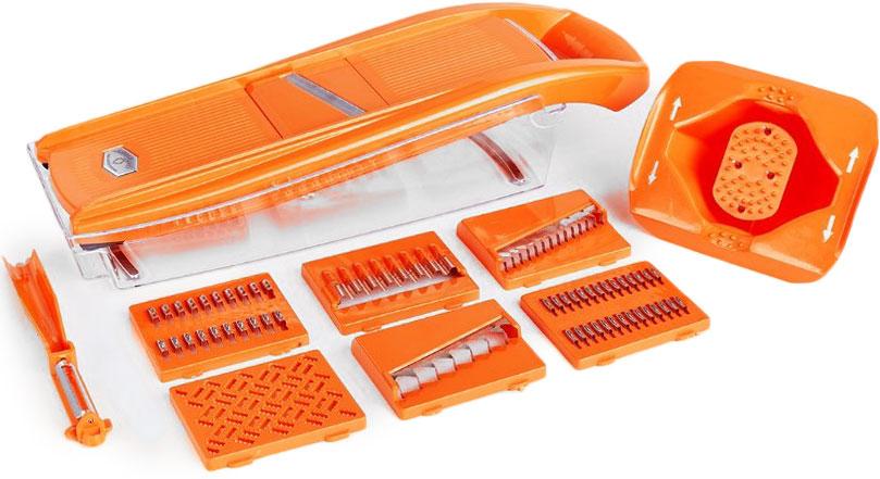 Набор кухонный для резки Libra Plast, цвет: оранжевый, 10 предметовLP0002Превратите приготовление пищи в кулинарное искусство! С набором овощерезок это просто! Овощерезка Libra-Plast сделана из АВС пластика.Ножи из нержавеющей стали.насадка для крупной корейской моркови - 1 шт,насадка для мелкой корейской моркови - 1 шт,насадка для картофеля фри - 1 шт, овощечистка-экономка - 1 шт.насадка для салатов - 1 шт,насадка для детского пюре - 1 шт,насадка для шинковки - 1 шт.контейнер - 1 шт.держатель - 1 шт.