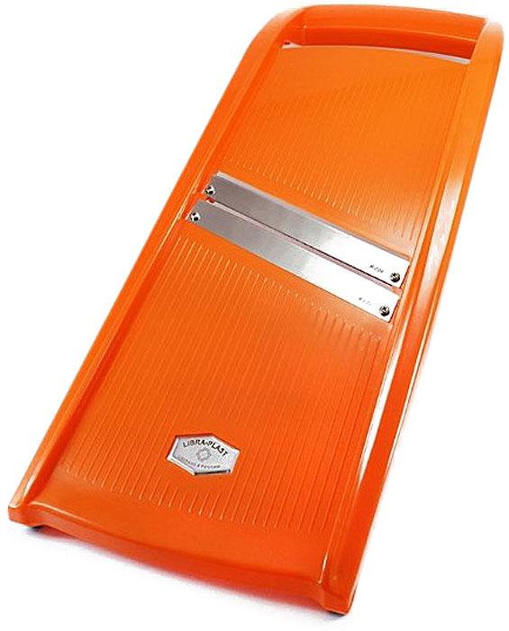 Овощерезка Libra Plast, цвет: оранжевый, 46 х 17 см. LP0006LP0006Большая овощерезка для капусты Libra-Plast Два лезвия из высококачественной нержавеющей стали, АВС пластик, антискользящиерезиновые вставки у основания Размер: 46 х 17 см