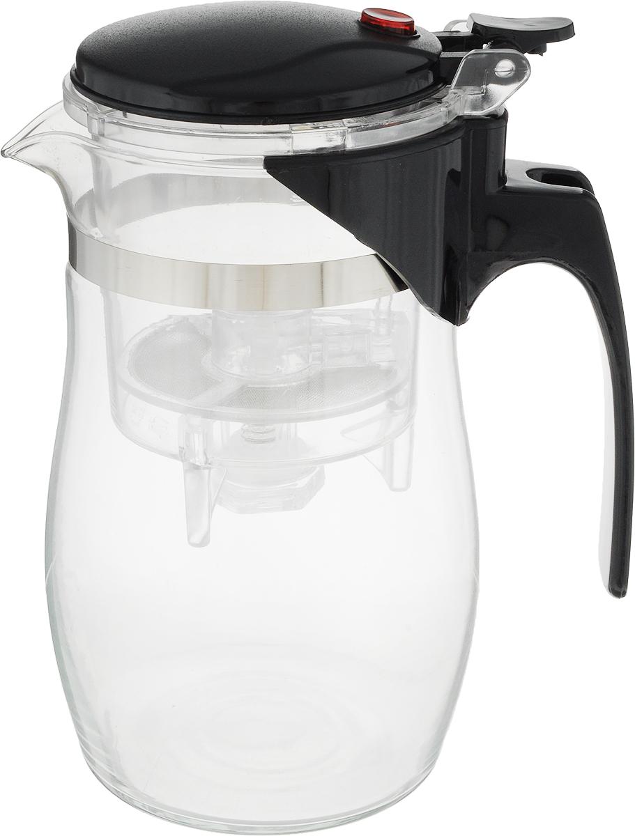 Чайник заварочный Gotoff, цвет: прозрачный, черный, 800 мл. 83711с26/с_черный, хохломаЗаварочный чайник Gotoff, оснащенный кнопкой для сливазаварки, изготовлен из экологически чистых и безопасныхматериалов. Колба выполнена из прочного термостойкогостекла. Рекомендации по использованию:- не используйте посуду в случае появления трещин илисколов;- не используйте в СВЧ;- можно мыть в посудомоечной машине.Диаметр по верхнему краю: 8 см. Высота (с учетом крышки): 16,5 см. Высота фильтра: 9,3 см.