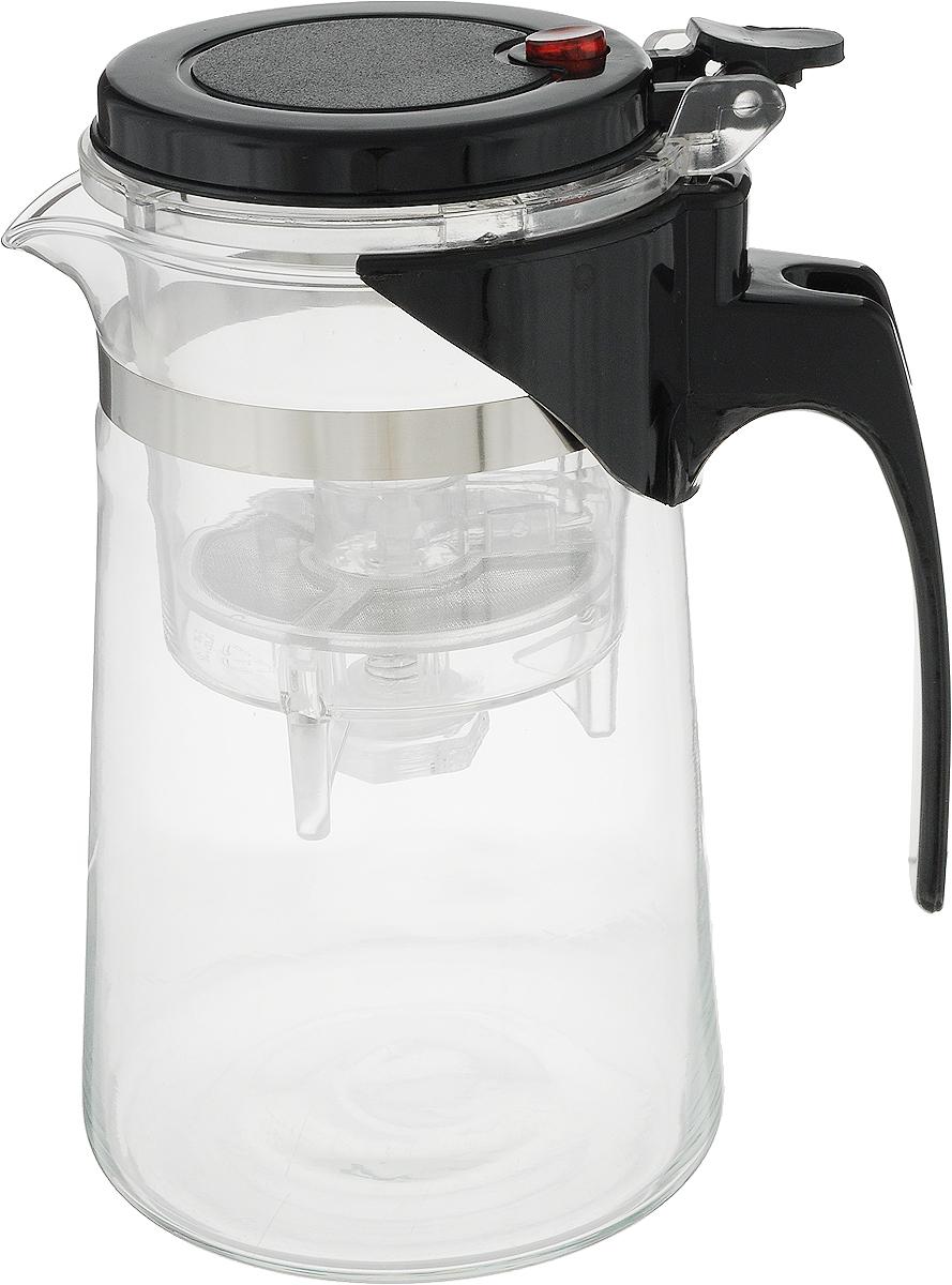Чайник заварочный Gotoff, цвет: прозрачный, черный, 800 мл. 83728372Заварочный чайник Gotoff, оснащенный кнопкой для слива заварки, изготовлен из экологически чистых и безопасных материалов. Колба выполнена из прочного термостойкого стекла.Рекомендации по использованию: - не используйте посуду в случае появления трещин или сколов; - не используйте в СВЧ; - можно мыть в посудомоечной машине. Диаметр по верхнему краю: 8 см.Высота (с учетом крышки): 16,5 см.Высота фильтра: 9,3 см.