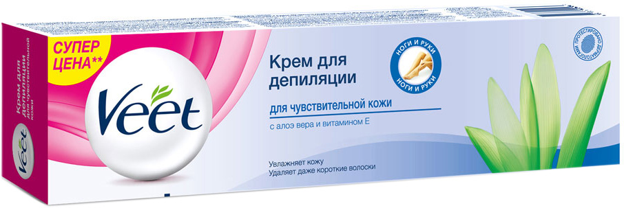 VeetКрем для депиляции для чувствительной кожи с Алоэ вера и витамином Е, 200 мл Veet