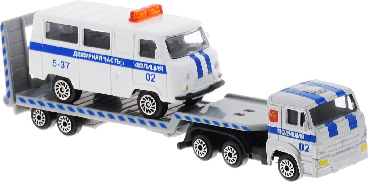ТехноПарк Набор машинок КамАЗ Транспортер с дежурной частью 2 шт тракторный прицеп 1птс 2 или 1птс 2 5