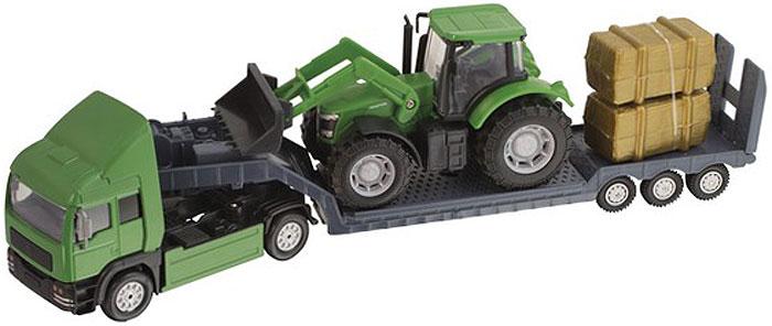HTI Фермерский грузовой автомобиль Roadsterz c трактором цвет трактора зеленый hti мусоровоз roadsterz