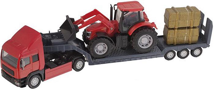 HTI Фермерский грузовой автомобиль Roadsterz c трактором цвет трактора красный hti мусоровоз roadsterz