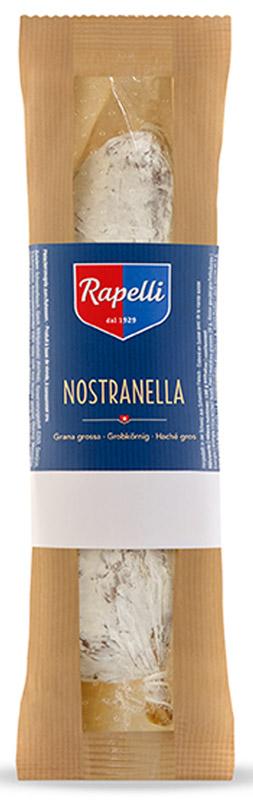 Rapelli Салями Ностранелла, 150 г756003Rapelli Салями Ностранелла.Все салями произведены в соответствии с рецептурой, разработанной создателем компании - Марио Рапелли в 1929 году. 100% швейцарский продукт. Не содержит аллергенов, глутамат натрия.Пищевая ценность на 100 г продукта: белки 26 г, жиры 29 г, углеводы 1 г.Энергетическая ценность 367 ккал.