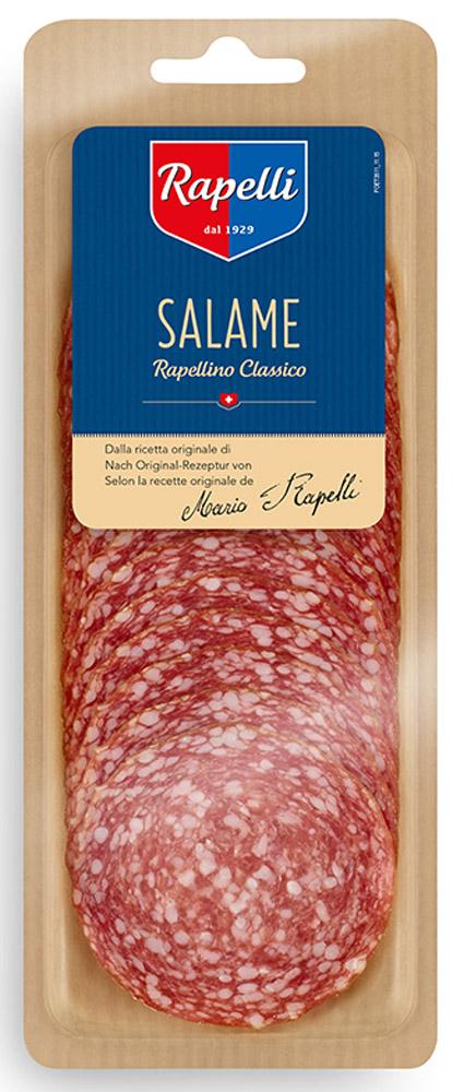 Rapelli Салями Милано Рапеллино, 80 г756011Все салями произведены в соответствии с рецептурой, разработанной создателем компании – Марио Рапелли в 1929 году. 100% швейцарский продукт. Не содержит аллергенов. Не содержит глутамат натрия.