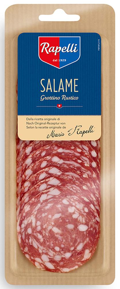 Rapelli Салями Нострано Гроттино, 80 г756012Rapelli Салями Нострано Гроттино.Все салями произведены в соответствии с рецептурой, разработанной создателем компании – Марио Рапелли в 1929 году. 100% швейцарский продукт. Не содержит аллергенов. Не содержит глутамат натрия.Пищевая ценность на 100г продукта: белки 23 г, жиры 33 г, углеводы 1 г.Энергетическая ценность 391 ккал.