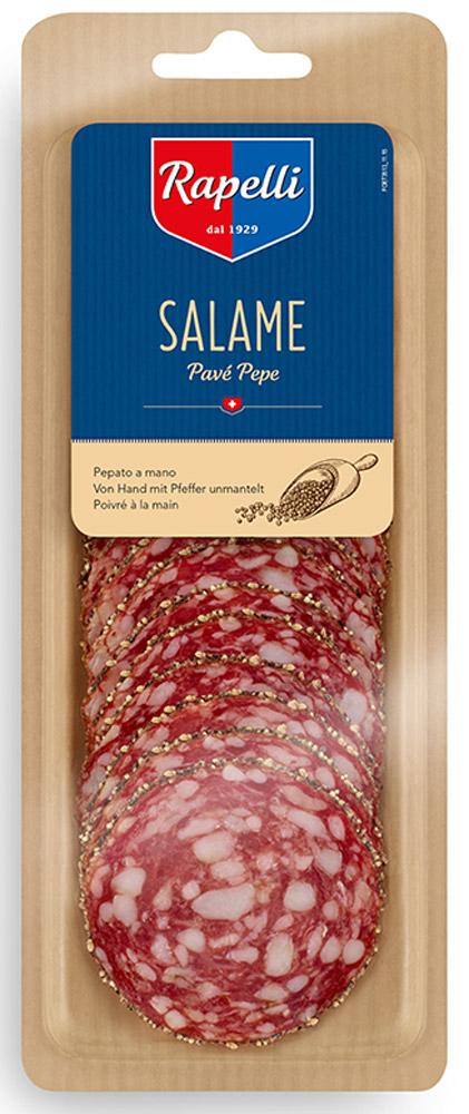 Rapelli Салями с перцем, 80 г756013Rapelli Салями с перцем.Все салями произведены в соответствии с рецептурой, разработанной создателем компании - Марио Рапелли в 1929 году. 100% швейцарский продукт. Не содержит аллергенов. Не содержит глутамат натрия.Пищевая ценность на 100 г продукта: белки 26 г, жиры 36 г, углеводы 1 г.Энергетическая ценность 433 ккал.