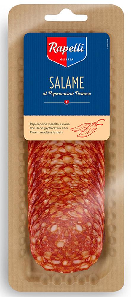 Rapelli Салями Пикантная, 80 г756014Rapelli Салями Пикантная.Все салями произведены в соответствии с рецептурой, разработанной создателем компании - Марио Рапелли в 1929 году. 100% швейцарский продукт. Не содержит аллергенов. Не содержит глутамат натрия.Пищевая ценность на 100 г : белки - 24 г, жиры - 28 г, углеводы - Энергетическая ценность: 349 ккал.
