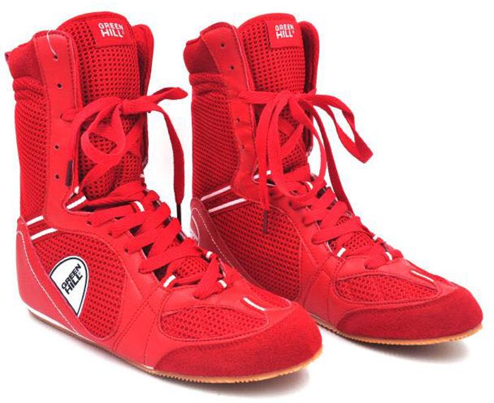 Боксерки Green Hill, цвет: красный. PS005. Размер 36PS005Обувь для бокса Green Hill - это специальная обувь, предназначенная для тренировочных боев и выступлений на соревнованиях по боксу. Обязательным требованием к конструкции современных боксерок является надежное закрепление голеностопного сустава для предотвращения возможности подвывиха ступни.Боксерки Green Hill обеспечивают надежную фиксацию голеностопа, предотвращая возможность подвывиха ступни. Подошва боксерок выполнена из не скользящего материала, который позволяет быстро передвигаться по рингу. Сетчатые вставки из микрофибры создают отличную вентиляцию стопы. Средняя высота придает обуви универсальность.