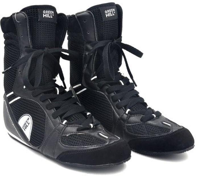 Боксерки Green Hill, цвет: черный. Размер 42PS005Обувь для бокса PS005 - это специальная обувь, предназначенная для тренировочных боев и выступлений на соревнованиях по боксу. Обязательным требованием к конструкции современных боксёрок является надежное закрепление голеностопного сустава для предотвращения возможности подвывиха ступни. Боксерки Green Hill обеспечивают надежную фиксацию голеностопа, предотвращая возможность подвывиха ступни. Подошва боксерок выполнена из не скользящего материала, который позволяет быстро передвигаться по рингу.