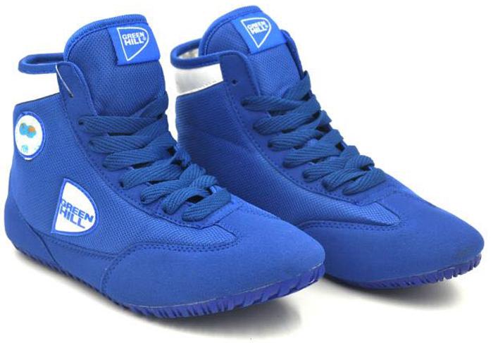 Борцовки Green Hill, цвет: синий, белый. GWB-3055. GWB-3055. Размер 44GWB-3055Обувь для борьбы - это борцовки от популярного бренда Green Hill. Благодаря удлиненной голени и надежной шнуровке такая обувь обеспечивает спортсмену комфорт и уверенность на ковре.Верх выполнен из искусственной замши и синтетики. Мягкая съемная стелька. Подошва проклеена и прошита, не скользит.