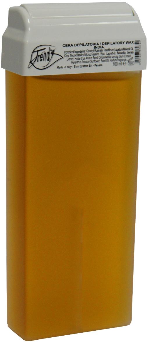 Trendy Воск для депиляции Индия в картридже, 100 мл30018Неплотный воск предназначен для чувствительной и сухой кожи.Описание:Входящий в состав экстракт босвелии оказывает противовоспалительное, успокаивающее действие, стимулирует микроциркуляцию крови и способствует укреплению и восстановлению стенок сосудов и капилляров.