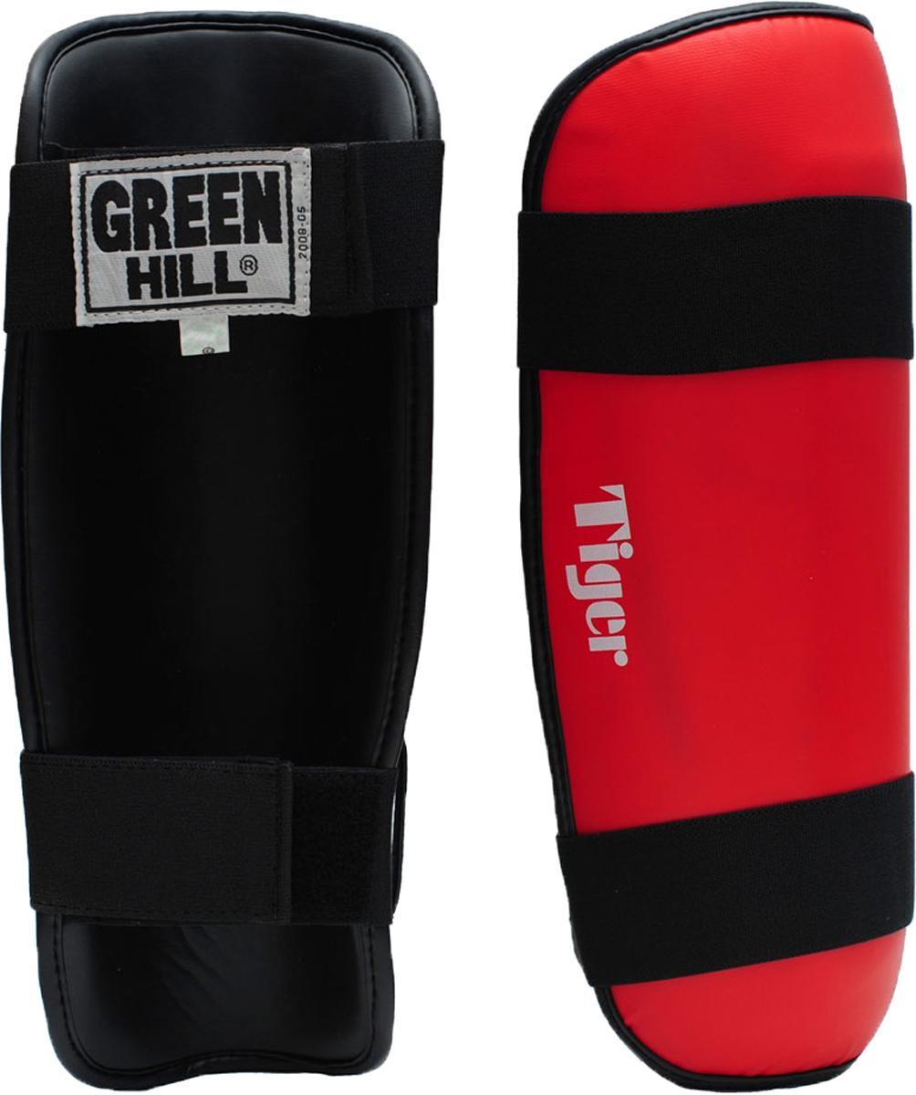 Защита голени Green Hill Tiger, цвет: красный. SPT-2123. Размер SSPT-2123Защита голени Green Hill Tiger с наполнителем, выполненным из вспененного полимера, необходима при занятиях спортом для защиты суставов от вывихов, ушибов и прочих повреждений.Накладки выполнены из высококачественной натуральной кожи. Закрепляются на ноге при помощи эластичных лент и липучек.