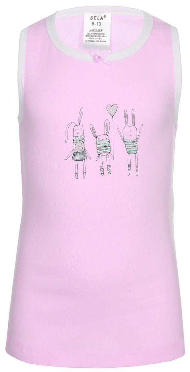 Майка для девочки Sela, цвет: нежный розовый. Tslub-2/143-7311. Размер 92/98, 2-4 годаTslub-2/143-7311Майка для девочки от Sela выполнена из натурального хлопкового трикотажа. Модель на широких бретелях спереди оформлена принтом.