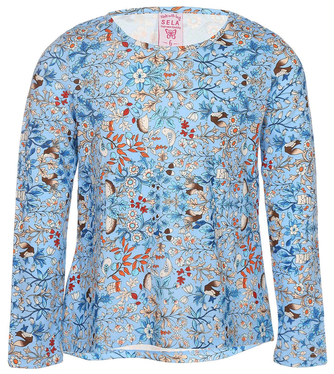 Джемпер для девочки Sela, цвет: голубой. T-511/433-7432. Размер 116, 6 летT-511/433-7432