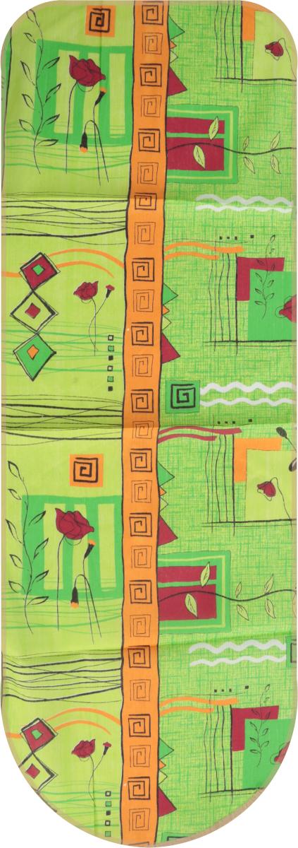 Чехол для гладильной доски Detalle, универсальный, цвет: зеленый, красный, 125 х 47 смЕ1301_зеленый/красная розаЧехол для гладильной доски Detalle, выполненный из хлопка с подкладкой из мягкого войлокообразного полотна (ПЭФ), предназначен для защиты или замены изношенного покрытия гладильной доски. Чехол снабжен стягивающим шнуром, при помощи которого вы легко отрегулируете оптимальное натяжение чехла и зафиксируете его на рабочей поверхности гладильной доски.Из войлокообразного полотна вы можете вырезать подкладку любого размера, подходящую именно для вашей доски. Этот качественный чехол обеспечит вам легкое глажение. Он предотвратит образование блеска и отпечатков металлической сетки гладильной доски на одежде. Войлокообразное полотно практично и долговечно в использовании. Размер чехла: 125 см x 47 см.Максимальный размер доски: 120 см х 42 см.Размер войлочного полотна: 130 см х 52 см.