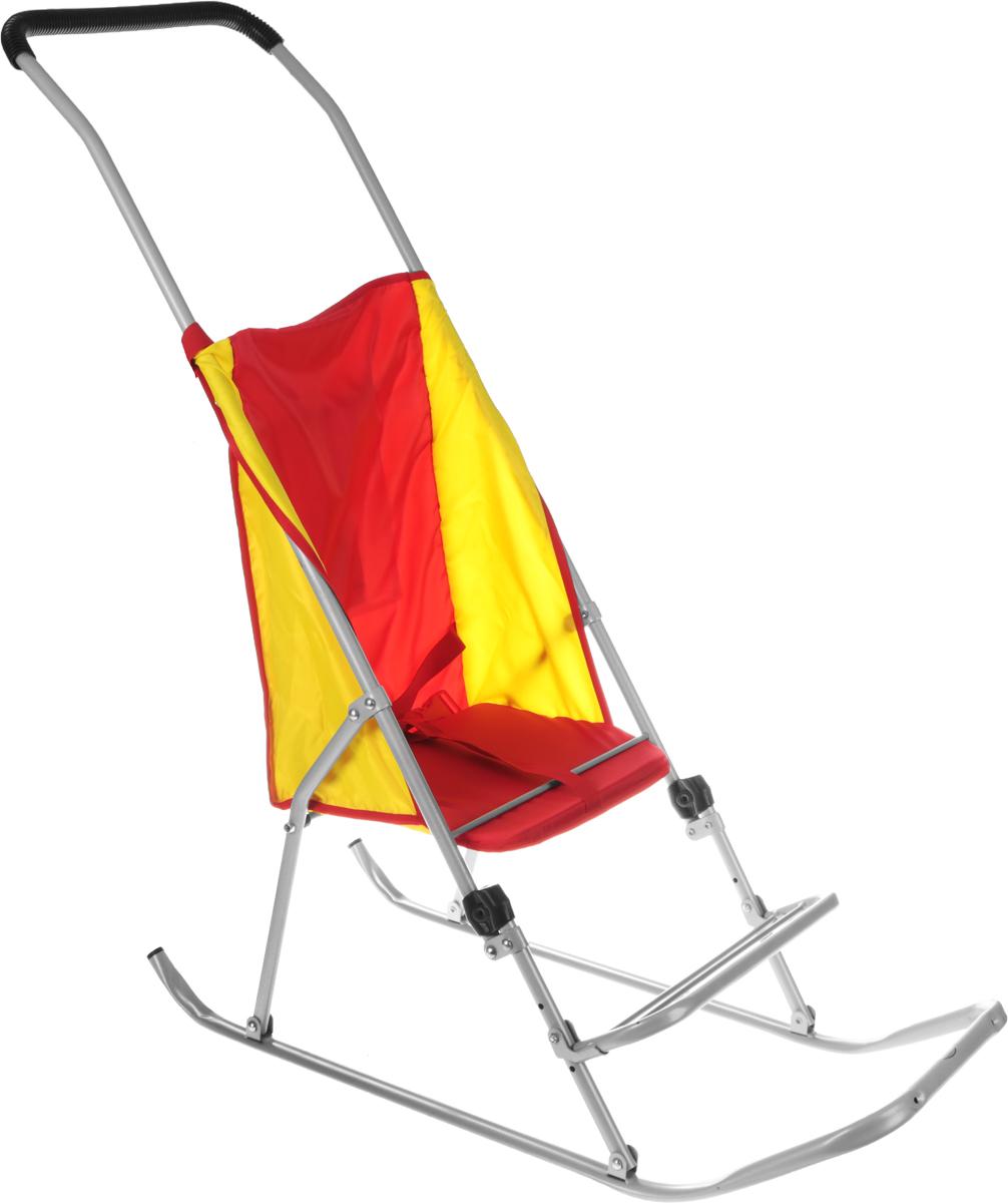 Фея Санки-коляска Метелица Люкс цвет красный желтый5571_красный желтыйСанки-коляска Фея Метелица Люкс выполнена из красной и желтой ткани и из тонких металлический труб. Ткань, использующаяся на санках, отлично защищает от ветра. Санки имеют карман для принадлежностей, ремень безопасности, регулируемую по высоте подставку для ног.