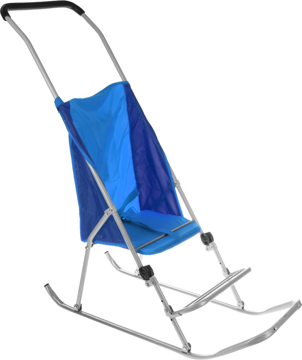 Фея Санки-коляска Метелица Люкс цвет синий5571_синийСанки-коляска Фея Метелица Люкс выполнена из синей ткани и из тонких металлический труб. Ткань, использующаяся на санках, отлично защищает от ветра. Санки имеют карман для принадлежностей, ремень безопасности, регулируемую по высоте подставку для ног.