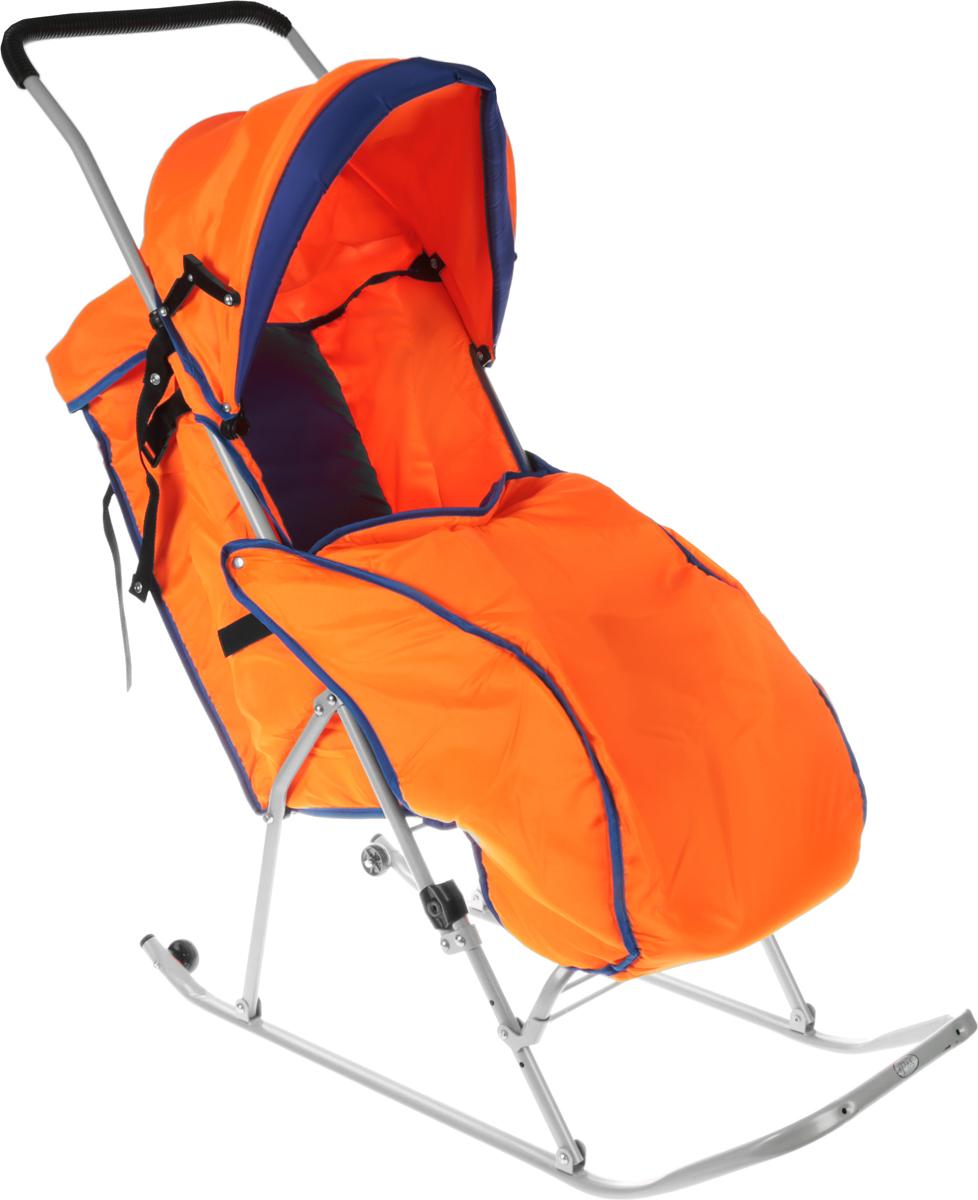 Фея Санки-коляска Метелица Люкс 1 с тентом цвет оранжевый синий0005573-02_оранжевый синийСанки-коляска Фея Метелица Люкс 1 выполнена из тонких металлических труб и из синей и оранжевой ткани. Ткань, использующаяся на санках, отлично защищает от ветра. Санки оснащены тентом, который складывается, имеется ремень безопасности и утепленный чехол для ног. Полозья изготовлены из плоской металлической трубы. Регулируемые подставка для ног и сидение, жесткая спинка. Санки изготовлены с двумя задними маленькими колесиками, что очень удобно при перевозки через дорогу, где нет снега.