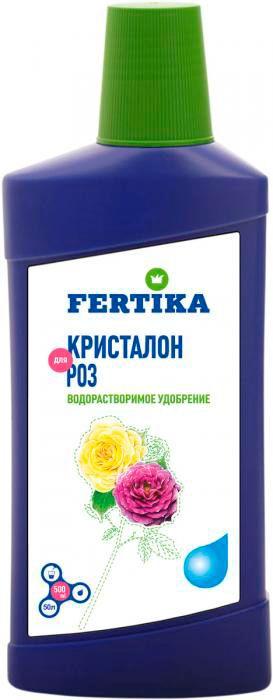 Удобрение Фертика Кристалон, для роз, жидкое, 500 млfertika0031Удобрение Фертика Кристалон предназначено для розовых растений. Повышает интенсивность окраски цветов, увеличивает продолжительность цветения, продлевает срок службы грунта горшечных культур. Применение: 1/4 колпачка (10 мл) развести в 1 литре воды.Товар сертифицирован.